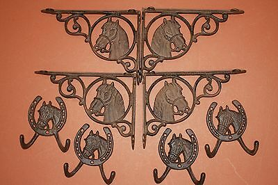 (8) Vintage-Look Equestrian Corbels, Wall Hooks, Cast Iron Horse Wall Decor