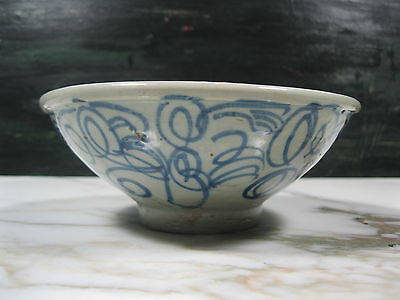 Antique Chinese Asian Blue White / Celadon Porcelain Footed Bowl Hand Painted