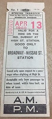 1969 Nyc Transit Brooklyn Division Special Transfer High St Ind Subway Ticket