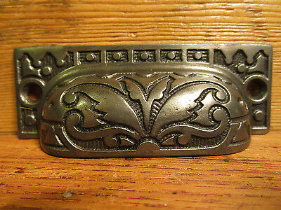 Antique Fancy Victorian Eastlake Bin Pull Drawer Handle Ornate Cast Iron Vintage