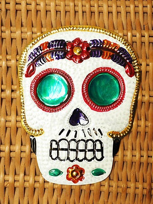 Colourful Mexican Tin Skull Milagro Miracle-Day of the Dead Folk Art Token