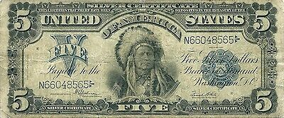 1899 $5 Silver Certificate ~ Indian Chief Onepapa Type ~ Nice Collector Grade