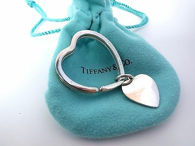 Tiffany & Co. Sterling Silver 925 Heart Shaped Key Ring & Heart Tag