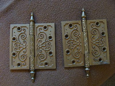 "Pair of antique 5 1/2""x 5 1/2"" cast iron steeple tipped door hinges Matched RARE"
