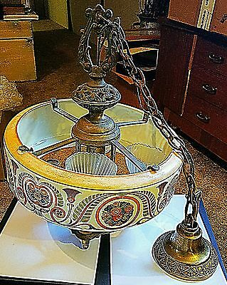 ANTIQUE LIGHTOLIER DECO CHANDELIER LIGHTING   1920's Glass Painted