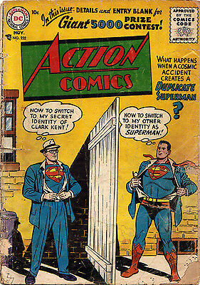 ACTION COMICS #222 (DC) Duplicate Superman-c. KEY 2nd Silver Age issue Nov 1956!