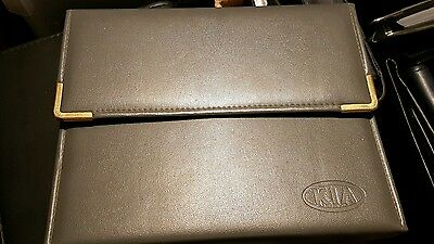 Genuine Grey Leather KIA Document Wallet Folder (for Car Owners Manual)