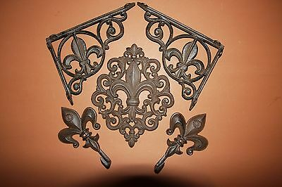 (5) Fleur De Lis Shelf Bracket Set, Fleur De Lis Home Decor Vintage-Look, French
