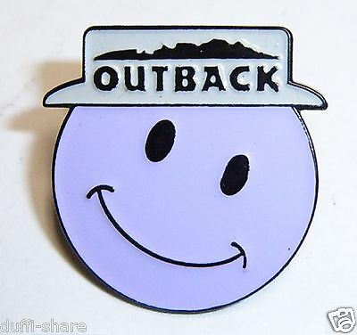 Outback Steakhouse Lapel Pin Hat Pin Large Smiley Face Lite Purple With Hat