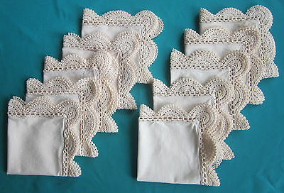 Vintage 10 small matching TABLE NAPKINS for formal setting Crocheted edges