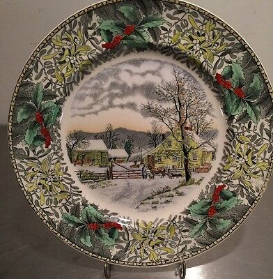 Adams England Winter Scenes Dinner Plate New England Winter Scene Currier Ives