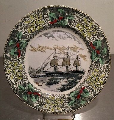 Adams England Winter Scenes Dinner Plate Currie Ives Clipper Ship Red Jacket