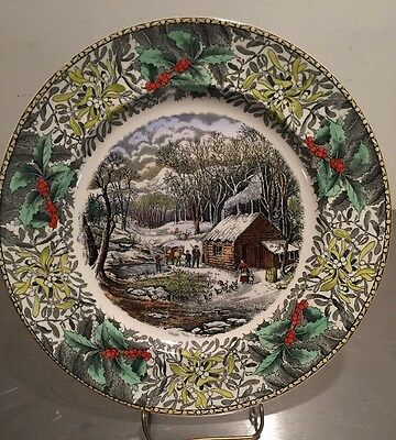 Adams England Winter Scenes  Plate Currier Ives A Home In The Wilderness
