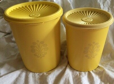 2 Vintage Tupperware Yellow Servalier Canisters Set With Lids 809 811