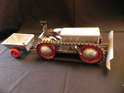 Vintage Aluminum Tractor with Plow and Cart - Excellent Condition - Works Well