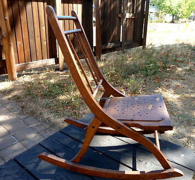 Rare Unusual Antique Well Made Child's Hardwood Folding Rocking Chair