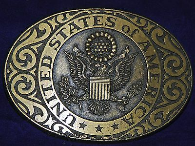Vintage 1970s United States Of America Solid Brass Belt Buckle