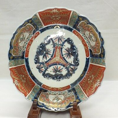 D663: Real Japanese OLD IMARI colored porcelain BIG bowl with very good painting