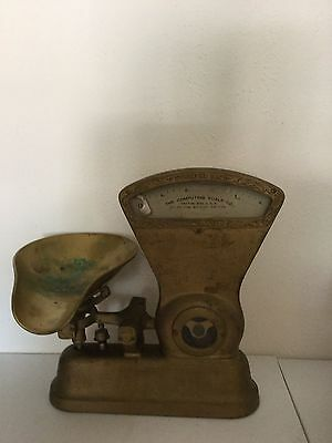 Vintage 1900's The Computing Scale Company Co. No. 166. 2 lb. Brass. Nice!