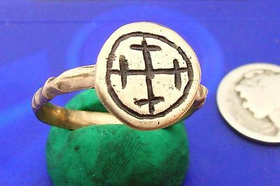 CV RESTORED Byzantine Bronze Ring HISTORIC EARLY CHRISTIAN CROSS size 9 1/4