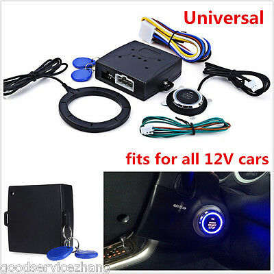 NEW RFID Car Alarm System Push Button Start Keyless go Transponder Immobilizer
