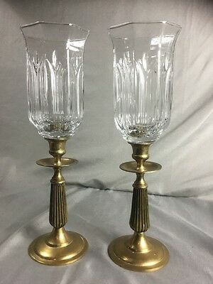 Vintage Pair Matching Solid Brass Candlesticks With Pressed Glass Globes Shades