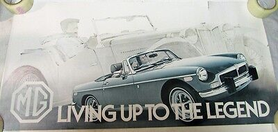 Vintage MG Car Poster Large Living Up To The Legend Sports Car Rare