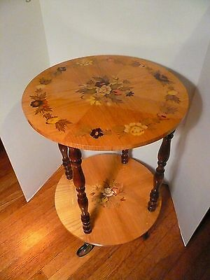 Vintage Rolling Side Rnd Table Floral Inlay Marquetry Italy Wheels  2Tier Server