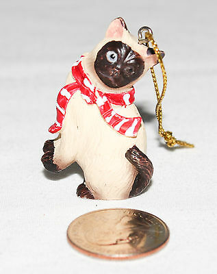 "Siamese Cat Ornament Tan 1-3/4"" Tall Pre-Owned"