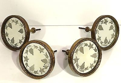 Set of 4 Antique MIRRORED BRONZE Curtain Tie Backs ETCHED GRAPEVINE PATTERN