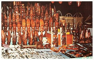 Fiji Market Stall Handicrafts Carved Statues and Masks Postcard 1960s-1970s