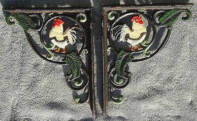 Hand Painted Rooster Cast Iron Brackets Metal Shelf Support LOT of 2