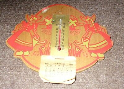 1944 Thermometer Dutch Sceen Made Of Wood With 3 Month Calendar