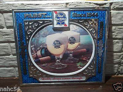 Pabst Brewing Embossed Sign Fishing 1984 18x15