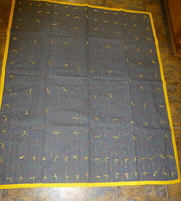 "Handmade Tied Quilt 44 x 53"" Denim blue/Yellow Multi Striped Quilt Gray Back"