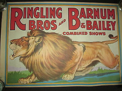Reprint Ringling Bros Barnum & Bailey Lithograph Print Circus POSTER LION