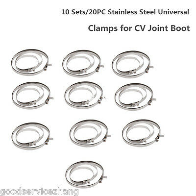 10 Sets/20PC Stainless Steel Universal Drive Shaft Axle CV Joint Boot Clamps Kit