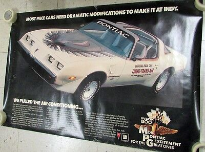 1980 Pontiac Turbo Trans Am Indy 500 Pace Car Dealer Showroom Poster Large Rare