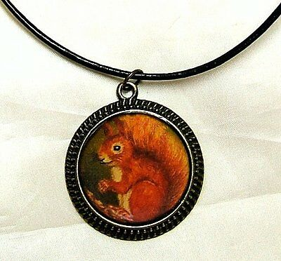 Cute Red Squirrel Bronze Pendant And Brown Leather Necklace Artisan Crafted