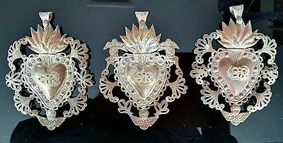 3 Antique Silver Plate Sacred Jesus Heart Ex Voto Milagro Miracle Vintage