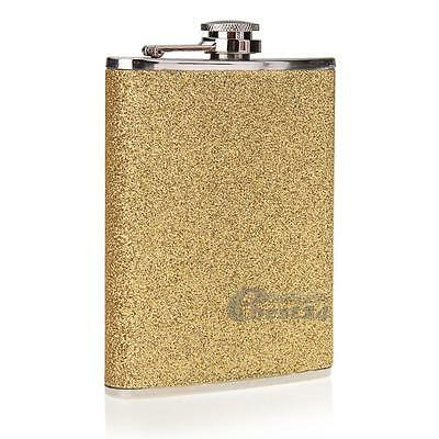New 8oz Steel Stainless Gold PU Alcohol Pocket Drink Liquor Whisky Hip Flasks
