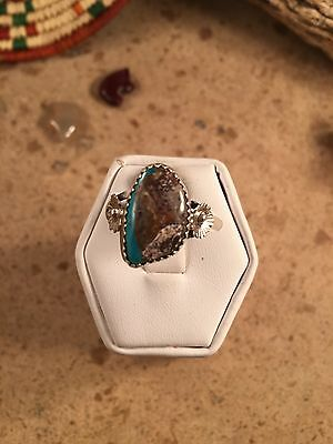 Navajo Kingman Turquoise And Sterling Silver Ring Size 9.5