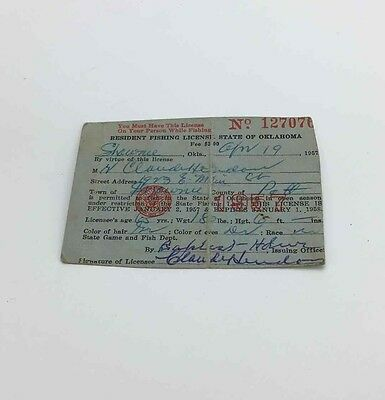 Vtg 1957 Oklahoma Fishing License Official State Gaming Hunting Document Paper