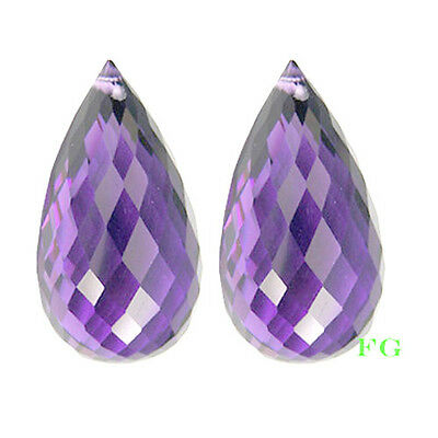 4.07 cts AMAZING NATURAL MATHING PAIR AMERTHYST BRIOLETTE PAIR GEM