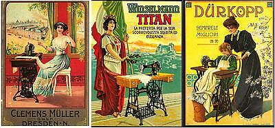 3 Postcards of Victorian Sewing Machine Repro Advertising