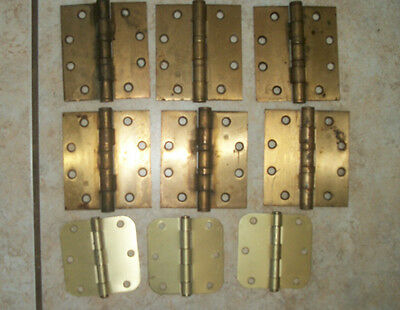 Vintage Large Brass Door Hinges 4 x 4 1/2 & 3 Brass Hinges 3 1/2 x 3 1/2