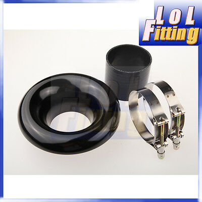 """Universal 4"""" Velocity Stack For Cold / Ram Engine Air Intake / Turbo Horn Black"""