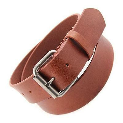 "1.5"" Snap on Oil Tanned Top Grain Genuine Vintage Retro Leather Belt, Brown"