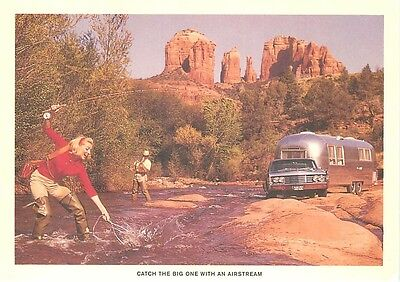 Airstream Trailer Fishing Holiday in a Desert Stream Repro Postcard