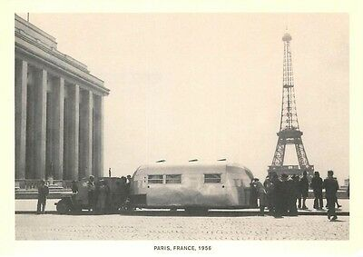 Airstream Trailer at Eiffel Tower in Paris in 1956 Repro Postcard